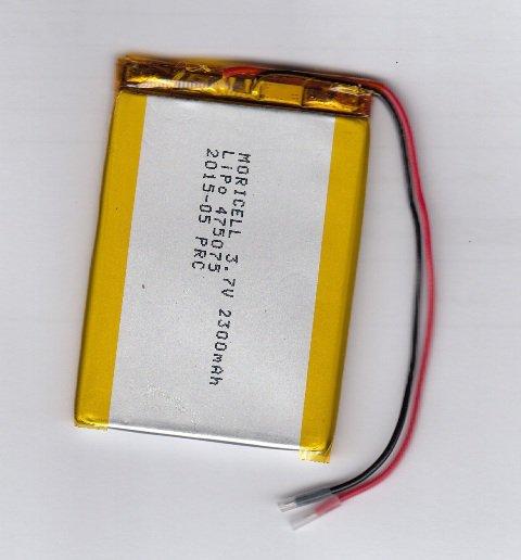باطری لیتیوم پلیمر 3.7 ولت 2300 میلی آمپر (475075)