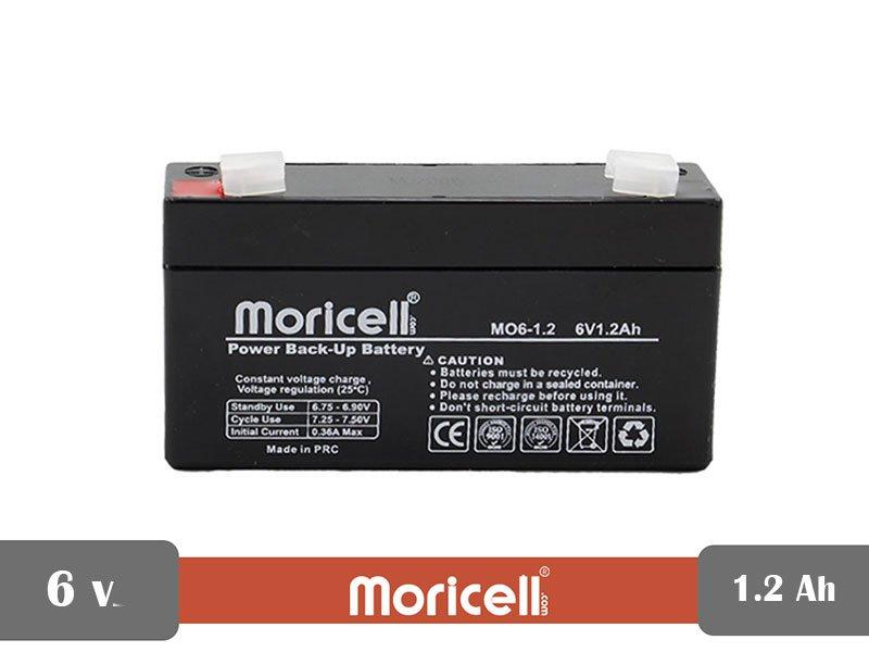 باطری سیلد اسید 6 ولت 1.2 آمپر moricell