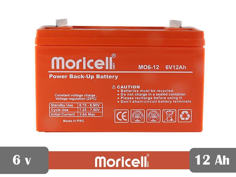 باتری سیلد اسید 6 ولت 12 آمپر moricell